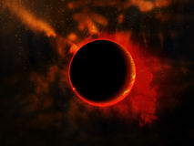 Eclipse. The computer generated eclipse in outer space Royalty Free Stock Images