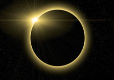 Eclipse. Of the sun on the black stock illustration