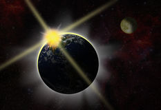 Eclipse - break of day Royalty Free Stock Photography