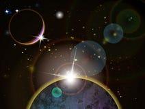 Eclipse - cena do espaço da fantasia Fotos de Stock Royalty Free