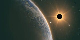 Eclipse completo del sol con el fondo científico abstracto stock de ilustración