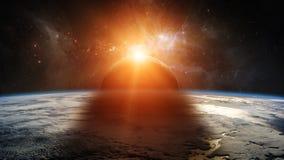 Eclipse del sol en los elementos de la representación de la tierra 3D del planeta de Foto de archivo