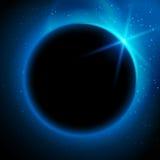 Eclipse el ejemplo, planeta en espacio en rayos de la luz azules ilustración del vector