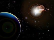 Eclipse - escena del espacio de la fantasía con el fondo negro Imagen de archivo