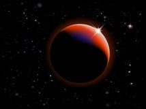 Eclipse - escena del espacio de la fantasía con el fondo negro ilustración del vector