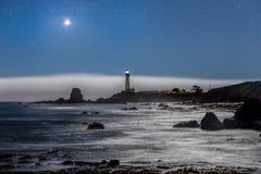 Eclipse estupendo de la luna sobre el faro del punto de la paloma Foto de archivo libre de regalías