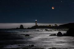 Eclipse estupendo de la luna sobre el faro del punto de la paloma Fotos de archivo