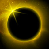 Eclipse illustration, planet in space in yellow rays of light Royalty Free Stock Images