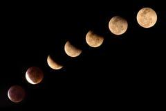 Eclipse lunar total no céu preto, em Tailândia 2015 Fotografia de Stock Royalty Free