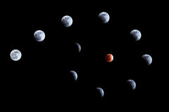 Eclipse lunare il 10 dicembre 2011 Immagini Stock