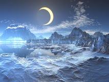 Eclipse lunare sopra il pianeta congelato illustrazione di stock