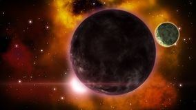 Eclipse mítico del planeta de la ciencia ficción en el espacio distante bucle stock de ilustración