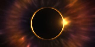 Eclipse in the night sky. Moon moving in front of the sun royalty free illustration