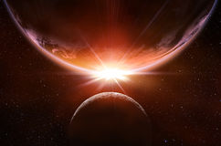 Eclipse planetário no espaço foto de stock