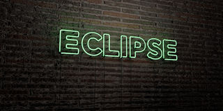 ECLIPSE -Realistic Neon Sign on Brick Wall background - 3D rendered royalty free stock image Royalty Free Stock Photos