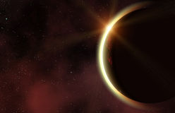 Eclipse of red planet in a space stars backgrounds Stock Images