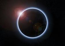 Eclipse solar con la luna entre la tierra y el sol libre illustration
