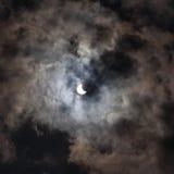 Eclipse solar el 59 por ciento como se ve en Lviv Ucrania Fotografía de archivo