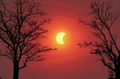 Eclipse solar en la temporada de otoño Foto de archivo libre de regalías