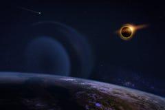 Eclipse solar no céu estrelado Fotos de Stock