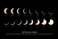 Eclipse solar parcial, el 20 de marzo de 2015, islas de Lofoten, Noruega Foto de archivo