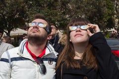 ECLIPSE SOLAR PARCIAL SOBRE GRÉCIA Imagem de Stock