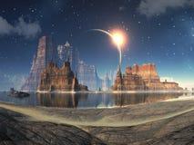 Eclipse solar sobre el paisaje extranjero del lago Imagen de archivo libre de regalías