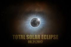 Eclipse solar texto total do 21 de agosto de 2017 Foto de Stock