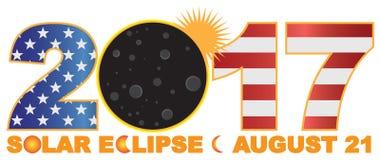 Eclipse solar total 2017 sobre el ejemplo numérico del vector de los E.E.U.U. Imágenes de archivo libres de regalías