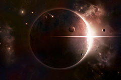 Eclipse Space Background. Sun eclipsed by planet moons and nebula behind it Royalty Free Stock Images