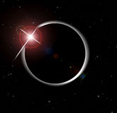 Eclipse of the sun. An image showing a solar eclipse of the sun by the moon, making a cosmic event into something celestial,in the space atmosphere around the royalty free illustration