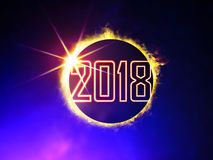 2018 on eclipse of the Sun. Illustration of 2018 like solar eclipse, enlarged view in the Universe royalty free illustration
