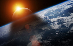 Eclipse of the sun on the planet Earth 3D rendering elements of Stock Images