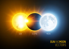 Eclipse total, o sol e lua Imagem de Stock Royalty Free