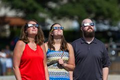 Eclipse watchers of 2017 Stock Photo