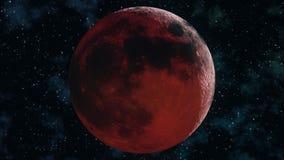 Eclissi lunare completa realistica Illustrazione della luna 3D del sangue illustrazione vettoriale