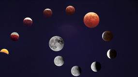 Eclissi lunare totale Immagine Stock