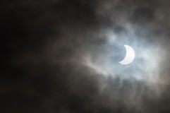 Eclissi solare parziale - 20 febbraio 2015 - North Yorkshire - Regno Unito immagine stock