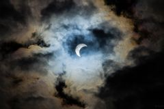 Eclissi sul automn del sud di Patagonia fotografie stock