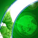 Eco与叶子的绿色背景。 库存照片