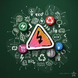 Eco与象的能量拼贴画在黑板 库存图片