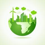 Eco与绿色都市风景的地球概念 免版税库存图片
