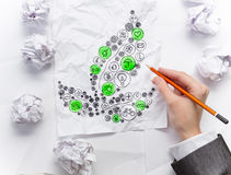 Eco世界概念 混合画法 免版税库存图片
