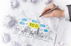 Eco世界概念 混合画法 库存图片