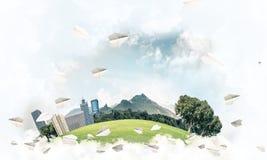 eco作为典雅的商业中心的绿色生活的概念在白色分类 图库摄影