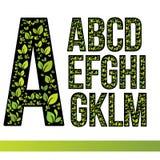 Eco信件设置与绿色叶子 导航设计您的生态应用或公司本体的模板元素 免版税库存照片