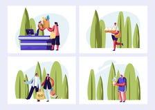 Eco包装集合 参观露天商店的人们 男性和女性角色为购物使用Eco包裹愉快购买 皇族释放例证