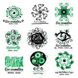 ECO化妆用品商标 装饰品手工制造环境商标 自然清洁剂,化妆用品 自然ECO产品 图库摄影
