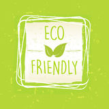 Eco友好与叶子签到在绿色老纸backgr的框架 免版税库存照片