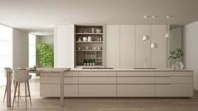 eco友好的公寓、海岛、桌、凳子和开放内阁的有辅助部件的,大窗口,竹子白色最低纲领派厨房 库存例证